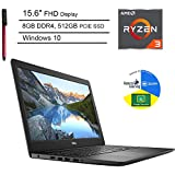 "Dell Inspiron 15 3000 15.6"" FHD Laptop Computer_ AMD Ryzen 3 2200U (Beat i5-7200U)_ 8GB DDR4 RAM_ 512GB PCIe SSD_ Online Class Ready_ Microphone_ Webcam_ Windows 10 Home_ BROAGE 64GB Flash"