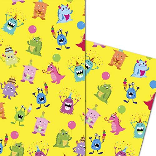 ArtUp.de 5 Bögen Geschenkpapier mit frechen Party Monster - Geschenke Geburtstag Jugendliche Kinder Jungs Mädchen - lustige DIY Bastelbögen stabile Qualität Bogengröße DIN A2 (42 x 59 cm)