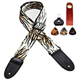 Adjustable guitar strap, for electric/acoustic/bass/classic guitars, tiger pattern flannel and polyester fiber weave, both ends leather, including strap lock + pick pocket + 3 picks