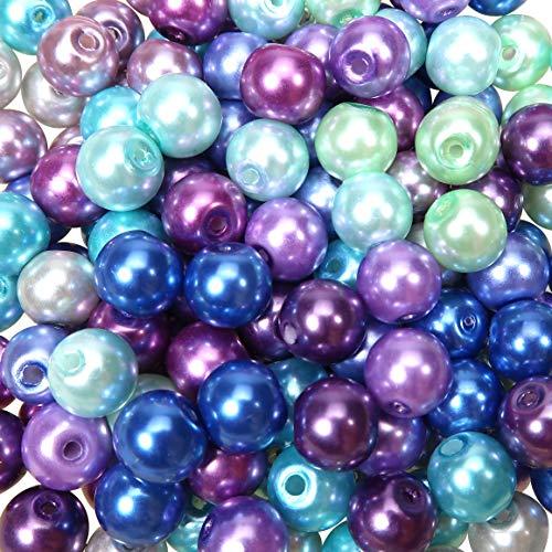 TOAOB 500 Piezas Cuentas de Vidrio de 8 mm Abalorios de Cristal Redondas Multicolores Perlas de Imitación para Bisuteria Hacer Joyas Pulsera Collar