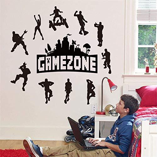 Runtoo Pegatinas de Pared Juegos Stickers Adhesivos Vinilo Game Negro Decorativas Cuarto de Jugar Dormitorio Habitacion Niños Infantiles