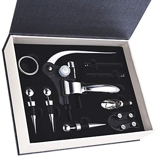 Faburo 9-teiliges Geschenk-Set für Wein mit Koffer, Weinflaschenöffner, Ausgießer für Wein