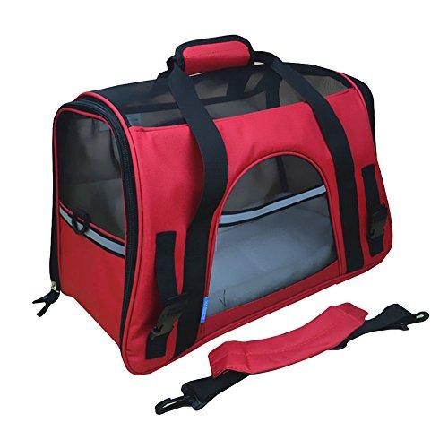 Faltbare Transportbox für Haustiere, Travel Weiche Seiten Tasche Haustier Träger für Hunde & Katzen Rot Large