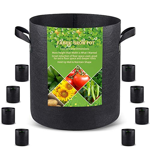 Grow Bags Tall, 5 US Gallon 8 Pack Fabric Deep Grow Pots with Handles for Vegetables, Heavy Duty Thickened Nonwoven Aeration Fabric 280G Black 5 Gal Plant Bag for Flowers and Trees