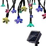 Tuokay Solar Lichterkette Außen 7m 50 LED 8 Modi Wasserdicht LED Außenlichterkette mit Blumen, Dekorative Beleuchtung für Garten Balkon Pavillon Terrasse Rasen Hof Zaun Hochzeit Deko (Mehrfarbig)