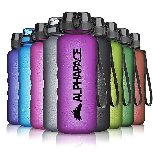 ALPHAPACE Trinkflasche, auslaufsichere 1.500 ml Wasserflasche, BPA-freie Flasche für Sport, Fahrrad & Outdooraktivitäten, Sportflasche mit Fruchteinsatz, in Purple