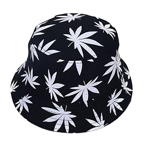 Unisex Sonnenhut Bucket Hat Fischerhut Cannabis Muster Mütze (Weiß)