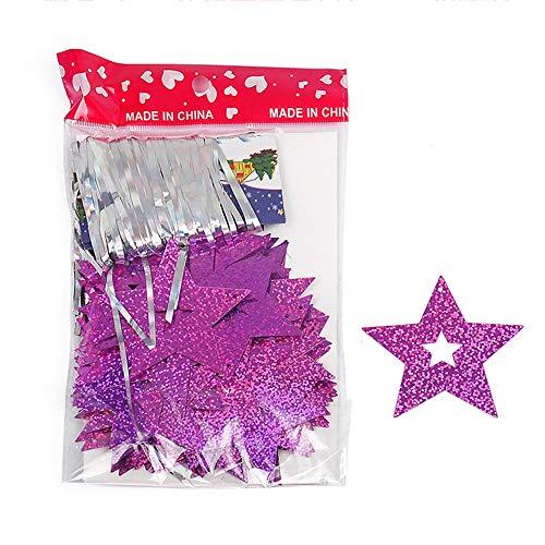 pentagramme Paillettes Pendentif Étoile Décor pour travaux manuels et emballage cadeau fête de mariage Festival de décoration, plastique, rose