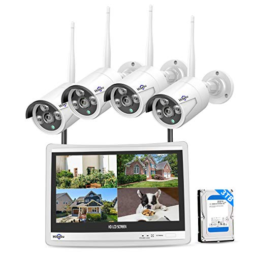 """Hiseeu [8CH Expandable, 2K] All in one with 12"""" LCD Monitor 3TB Hard Drive, Wireless Security Camera System, Home Business 8CH 1296P NVR Kit 4pcs 3MP Outdoor Bullet IP Cameras Night Vision Waterproof"""