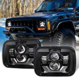 Z-OFFROAD 2PCS 85W Rectangle H6054 LED Headlights 5x7 7x6 6054 H5054 Halo Sealed Beam Headlamp White DRL Amber Turn Signal Compatible with Jeep Wrangler YJ Cherokee XJ Truck Ford Van E250 - Black