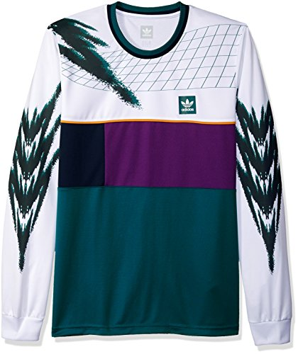adidas Originals Men's Skateboarding Tennis Jersey, White/Tribe Purple/Real Teal, S
