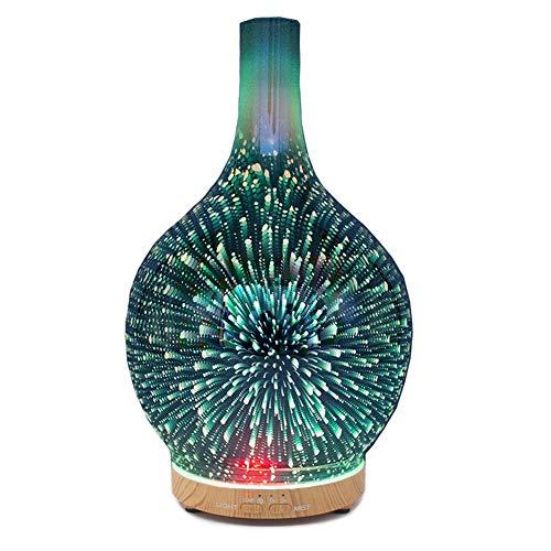 YunNasi Duftöldiffusoren 3D Glas Luftbefeuchter Ultraschall Aromatherapie Aromadiffusor Wasserlos Auto Off Time Einstellung 7 Farbwechsel LED für Yoga Meditation Schlaf SPA Schlafzimmer