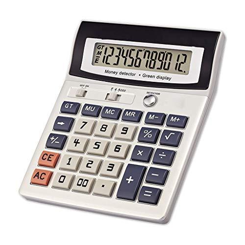 Computadora, calculadora de pantalla UV falsa de euros Oficina cajero LED financiera luz de la noche, Portátil líquido Visualización de la calculadora de 12 bits grande de cristal (calculadora financi