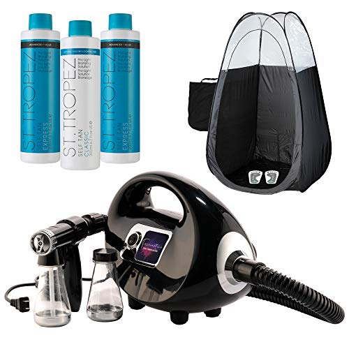 Naked Sun Fascination Spray Tan Machine Kit with St. Tropez Professional Sunless Tanning Solutions with Disposable Spa Feet and Black Pop Up Tanning Tent Bundle (6 Items)