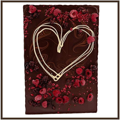 Valentinstag Schokolade Herz XXL 520g Edel Zartbitter-Schokolade - verziert mit Himbeeren und Brombeeren - Deutsche Handarbeit ideal als Geschenk