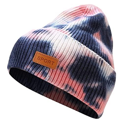 luchike Sombrero de punto de invierno Tie Dye Beanie SlLoose Cuffed Skull Caps Warm Soft Hat Unisex, Azul oscuro, Medium / Large