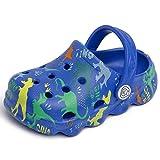Knemksplanet Boys Girls Dinosaur Clogs Cute Cartoon Toddler Clog Shoes Little Kids Slippers Slip On Lightweight Beach Pool Sandals Navy