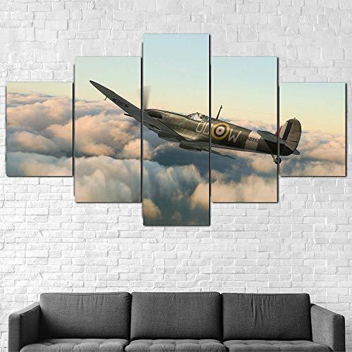 Cuadro En Lienzo 200X100Cm Aviones De Combate Supermarine Spitfire Impresión De 5 Piezas Material Tejido No Tejido Impresión Artística Imagen Gráfica Decor Pared