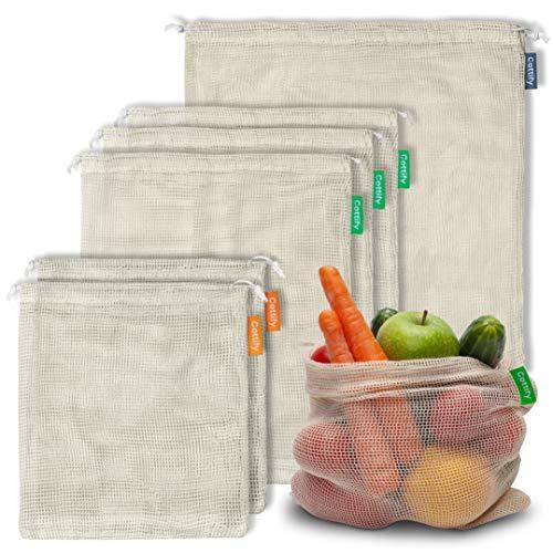 Cottify Wiederverwendbare Obst und Gemüsebeutel aus Baumwolle, Nachhaltige Einkaufsnetze & Gemüsenetze mit Gewichtsangabe, Obstnetz, Doppelgenähtes und mit Kordelzug, Leicht, 6 stück (2S+3M+1L)