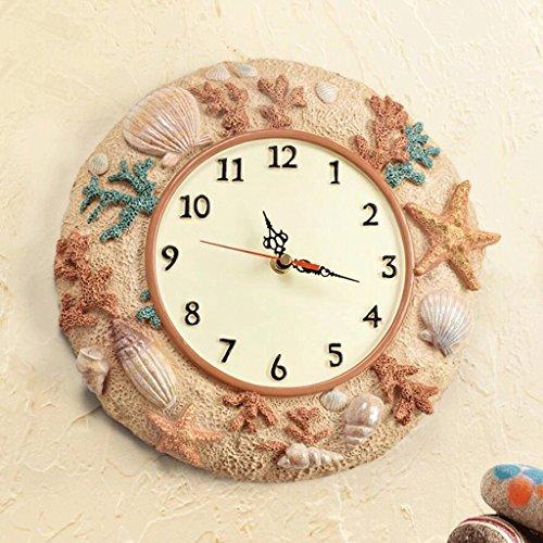 Bonne action Horloge murale Américain Salon Chambre Creative Mode Simple Moderne Européenne Pastorale Horloge Horloge Murale Mute Océan Mur Horloge