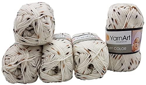 YarnArt Baby Color - Ovillo de lana para bebé (5 x 50 g, 100% acrílico, muy suave, color beige con marrón 269)