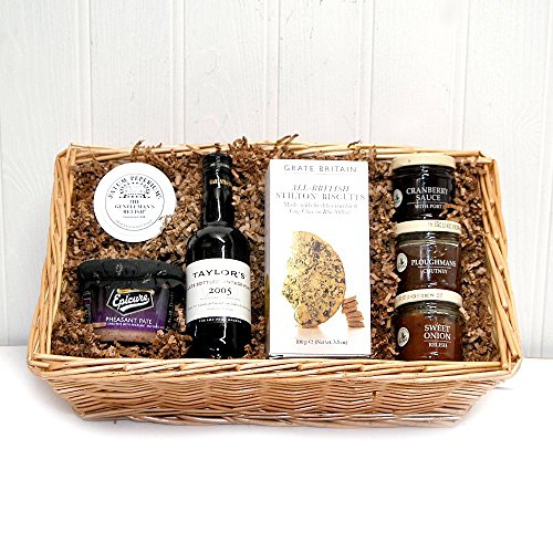 200ml Port with Stilton Biscuits & Chutneys Gents Gift Tray - Gift ideas for Valentines, Father's Day, Birthday, Business, Anniversary and Corporate Gifts, Christmas