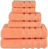 American Soft Linen 6-Piece 100% Turkish Genuine Cotton Premium & Luxury Towel Set for Bathroom & Kitchen, 2 Bath Towels, 2 Hand Towels & 2 Washcloths [Worth $72.95] - Malibu Peach