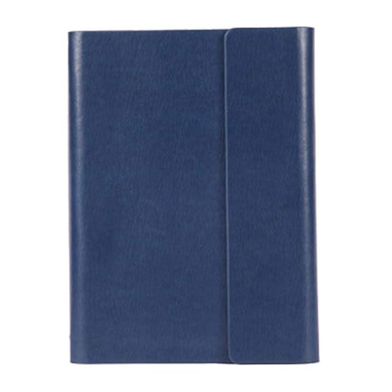 ビジネスノートブックオフィス6ホール学生とオフィス一般三つ折り100枚メモ帳PUノート(カラー:レトロブルーとブラック)blue