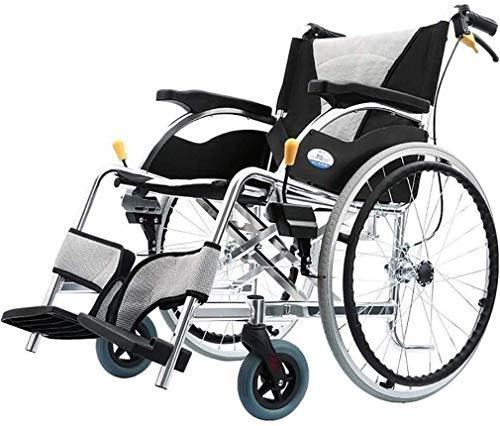 WXDP Autopropulsado s plegable aluminio ligero, viaje plegable con neumático no neumático pedal de pie ajustable freno doble discapacitado/vespa de la carretilla de los ancianos S