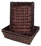 Lashuma Rechteckige Flechtkörbe braun, Osterkörbchen Set 3 teilig, Bambus Körbe 24x18x17 cm