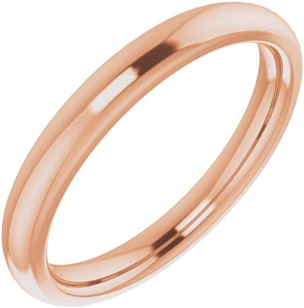 Solid 18K Rose Gold Curved Notched Wedding Band for 5.5mm Round Ring Guard Enhancer - Size 7