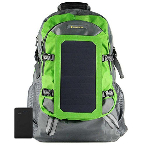 SolarGoPack Solar Powered Backpack / 7 Watt Solar Panel Daypack / Phone and Electronic Device Power Charger Back Pack / Light Green
