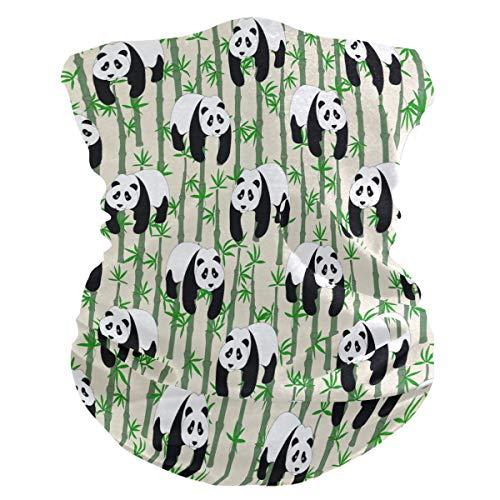 BIGJOKE Niedliche Tier-Panda Bambopattern winddicht UV-Schutz Gesichtsmaske Bandanas Kopftuch waschbar Hals Gaiter Stirnband für Damen Herren Outdoor-Aktivitäten Staub Yoga