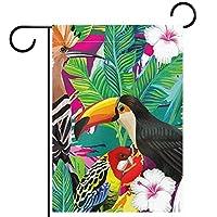 ガーデンヤードフラッグ両面 /12x18inch/ ポリエステルウェルカムハウス旗バナー,花の花野生動物sworld熱帯林の鳥