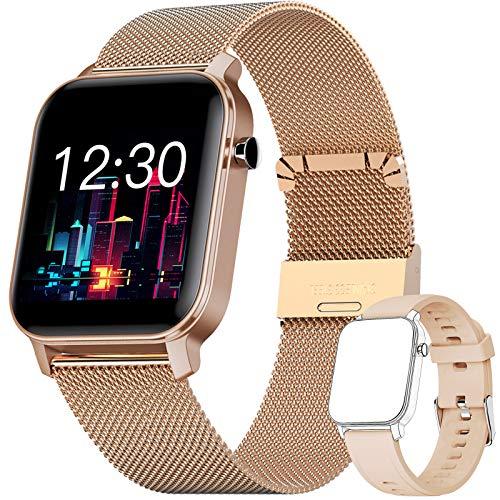 YUNFUN Smartwatch Mujer Reloj Inteligente Impermeable IP68 con Monitor de Sueño Pulsómetros Cronómetros Contador de Caloría, Pulsera de Actividad Inteligente para Mujer con iOS y Android (Dorado)