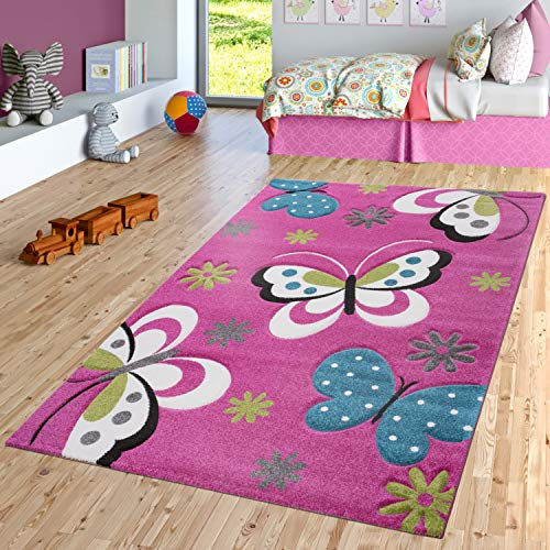 TT Home Alfombra Infantil Diseño Mariposa Verde Gris Negro Crema Rosa, Größe:80x150 cm
