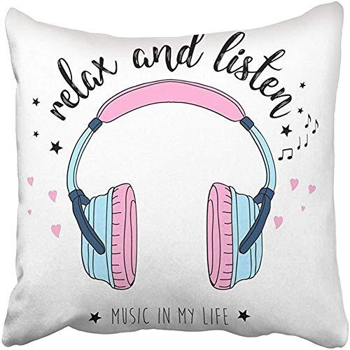 Throw Pillow Cover Poliéster 18X18 Pulgadas Pink Girl Auriculares Dibujo a Mano Gráfico Mujer Música Camiseta Lema Lindo Estrella Cojín Decorativo Funda de Almohada Cuadrado Dos Lados Imprimir