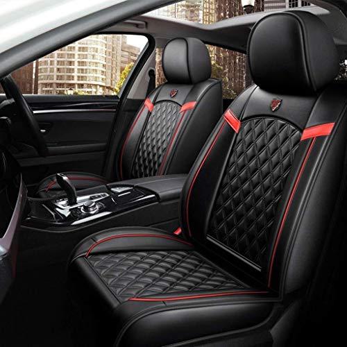 Housses de siège Auto Universal Set, coussins de siège en cuir pour les sièges avant et arrière recouvrent la protection du siège (Color : Noir)