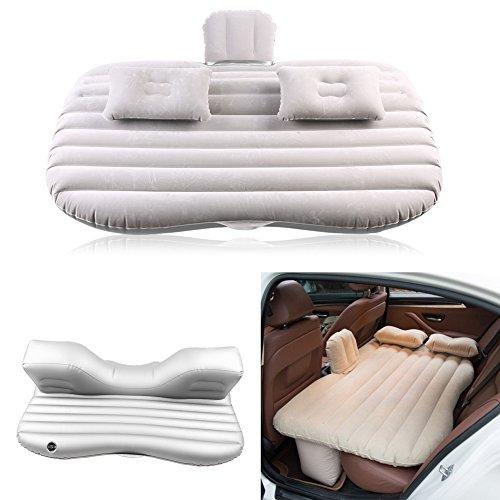 GOTOTOP - Materasso gonfiabile, con 2 cuscini gonfiabili e pompa elettrica per sedile posteriore, auto, SUV, campeggio, carico fino a 150 kg, colore: Grigio