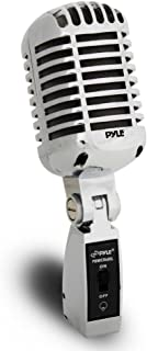 Pyle Classic Retro Dynamic Vocal Microphone - Old Vintage Style Metal Unidirectional Cardioid Mic with XLR Cable - Universal Stand Adapter - Live Performance Studio Recording - PDMICR68SL (Silver)
