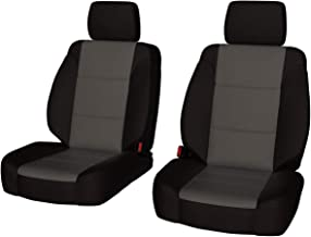 Front Seats: ShearComfort Custom Waterproof Cordura Seat Covers for Toyota Tacoma (2016-2019) in Black w/Gray for Buckets w/Adjustable Headrests