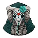 Teal Blue Day Of The Dead Sugar Skull Baby Elephant Face Mask Bandanas For Dust, Outdoors, Festivals, Sports