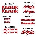 Aufkleber-Set für Kawasaki Ninja, einzeln zugeschnitten, kompatibles Aufkleber-Set, personalisierbare Farbe (Rot)