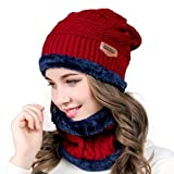 Aisprts Gorro Invierno con Bufanda, Calentar Sombreros Gorras Beanie de Punto para Hombre Mujer (Rojo)