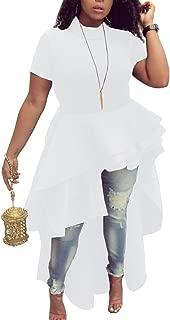 Womens Ruffle High Low Asymmetrical Short Sleeve Bodycon Tops Blouse Shirt Dress