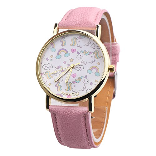 Reloj de pulsera de piel sintética de Dontdo, con diseño de arcoíris y unicornios, rosa,...