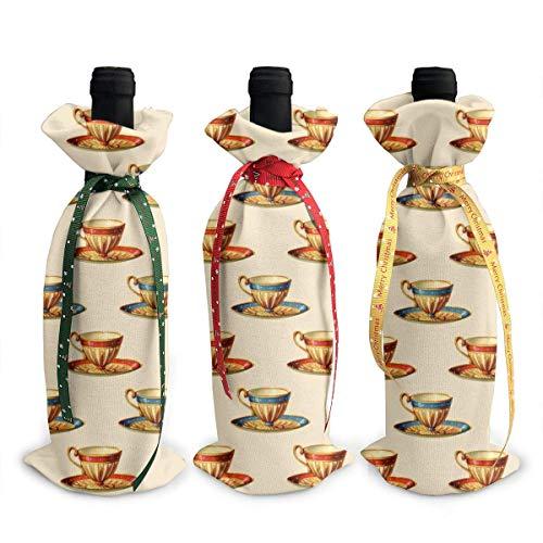 3 Stück Weinflaschenabdeckung Teetasse Bild Dekoration Cover Taschen Tischdekoration für Weihnachten Party Abendessen Dekoration Geschenk