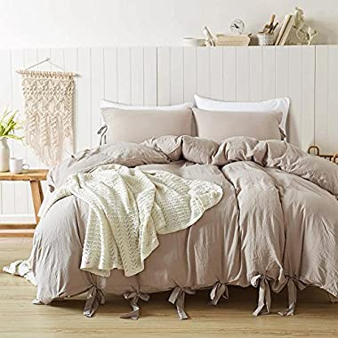 DuShow Solid Color Egyptian Wash Cotton Duvet Cover Luxury Bedding Set High Thread Count Long Staple Weave Silky Soft Breathable Bed Linen (Taupe,King)