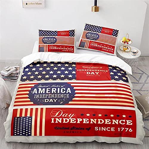 USA Flag Fundas Nordicas Juveniles con Cremallera Fundas Nordicas 135X200 Cm + 2 Fundas De Almohada 50X75 Cm Suave Hipoalergénico Microfibre Ropa De Cama