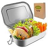 Lunchbox, Edelstahl Brotdose mit Fach Abnehmbare Teiler, Umweltfreundliche Auslaufsichere Bento Box für Erwachsene und Kinder